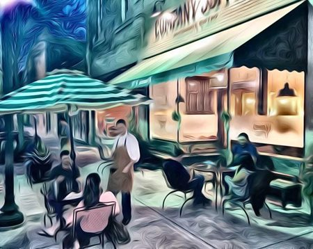 painting of people dining
