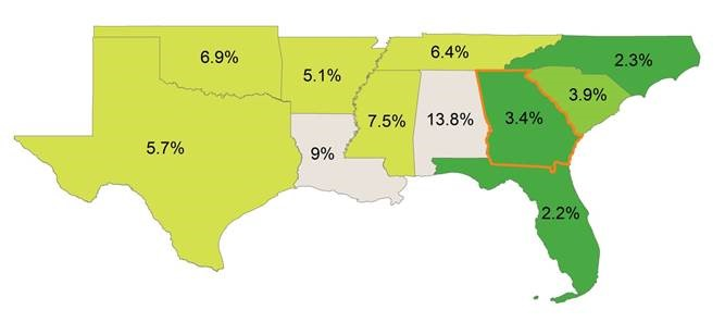 map showing manufacturing rates in southern US states