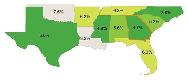 map showing turnover rates in southern US states