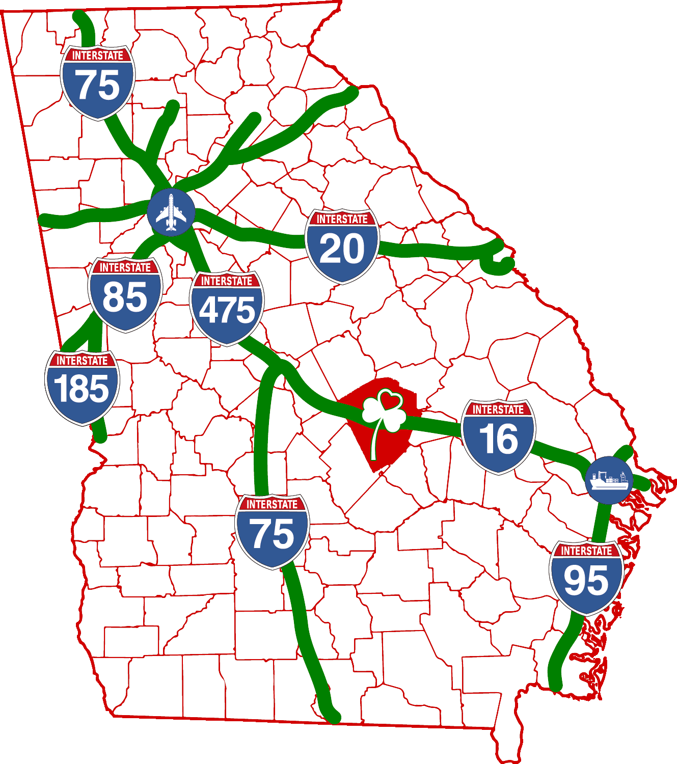 Map Of Georgia With Highways.Transportation Dublin Laurens County Development Authority